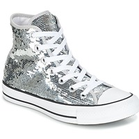 Shoes Women High top trainers Converse CHUCK TAYLOR ALL STAR SEQUINS HI SILVER/WHITE/BLACK Silver