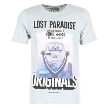 material Men short-sleeved t-shirts Jack & Jones FASTER ORIGINALS Grey