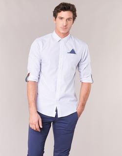 material Men long-sleeved shirts Scotch & Soda DARLU White / Blue