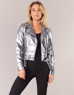 material Women Leather jackets / Imitation le Only ANN Silver