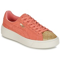 Shoes Girl Low top trainers Puma SUEDE PLATFORM GLAM JR Orange / Gold
