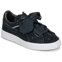 Shoes Girl Low top trainers Puma SUEDE HEART VALENTINE PS Black