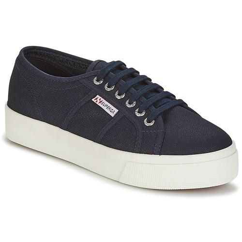 Shoes Women Low top trainers Superga 2730 COTU Marine / White