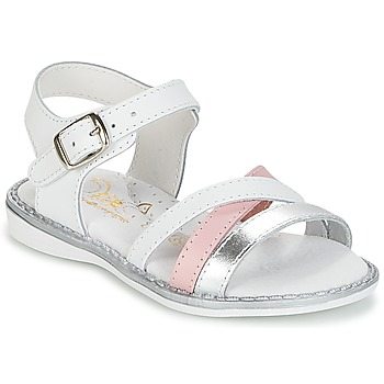 Shoes Girl Sandals Citrouille et Compagnie IZOEGL White / Silver / Pink