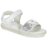 Shoes Girl Sandals Citrouille et Compagnie ILEVANDOK White / Silver