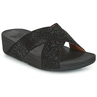 Shoes Women Mules FitFlop CRYSTAL II SLIDE SANDALS Black