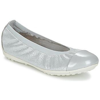 Shoes Girl Ballerinas Geox J PIUMA BAL A Grey / Silver