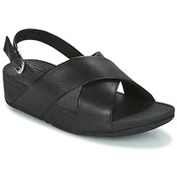 Shoes Women Sandals FitFlop LULU CROSS BACK-STRAP SANDALS - LEATHER  black