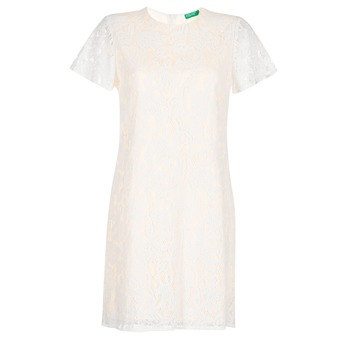 material Women Short Dresses Benetton PRISTOUC White
