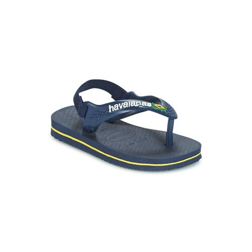Shoes Boy Flip flops Havaianas BABY BRASIL LOGO Marine / Yellow