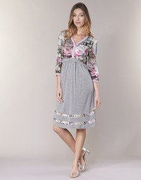 material Women Short Dresses Cream ZAIROCE Grey