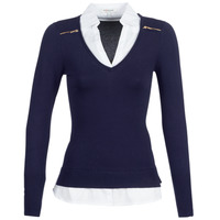 material Women jumpers Morgan MYLORD Marine / White