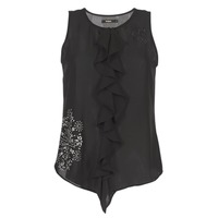 material Women Tops / Sleeveless T-shirts Desigual POALDAOR Black