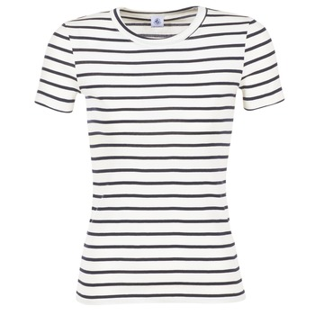 material Women short-sleeved t-shirts Petit Bateau  White / MARINE