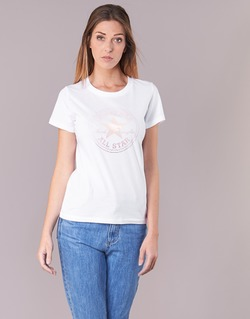material Women short-sleeved t-shirts Converse CONVERSE CLEAR FOIL CHUCK PATCH CREW TEE White
