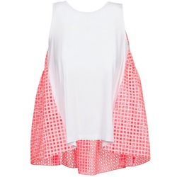 material Women Tops / Sleeveless T-shirts Manoush AJOURE CARRE White / Pink