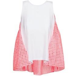 material Women Tops / Sleeveless T-shirts Manoush AJOURE CARRE White / Pink