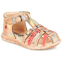 Shoes Girl Sandals GBB PERLE Pink /  metal-fluo / Dpf / Nemo