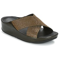 Shoes Women Mules FitFlop CRYSTALL SLIDE Olive