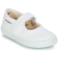 Shoes Girl Ballerinas Victoria MERCEDES VELCRO LONA White