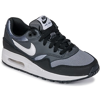 Shoes Boy Low top trainers Nike AIR MAX 1 GRADE SCHOOL Black / Grey