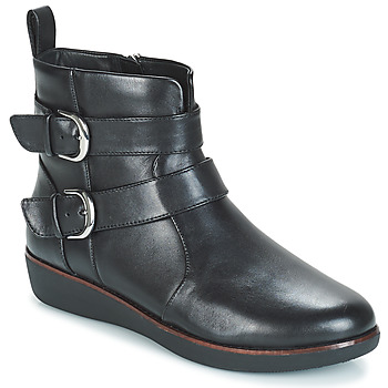 Shoes Women Mid boots FitFlop LAILA DOUBLE BUCKLE Black
