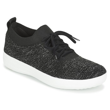 Shoes Women Low top trainers FitFlop F SPORTY UBERKNIT SNEAKERS CRYSTAL Black