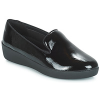 Shoes Women Loafers FitFlop AUDREY SMOKING SLIPPERS CRINKLE PATENT Black