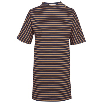 material Women Short Dresses Petit Bateau TUESDAY Marine / Yellow