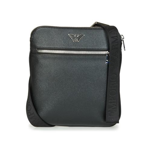 Bags Men Pouches / Clutches Emporio Armani BUSINESS FLAT MESSENGER BAG Black