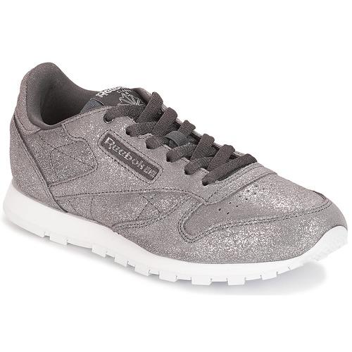 41baffbbd7e Shoes Girl Low top trainers Reebok Classic CLASSIC LEATHER J Grey   Metallic