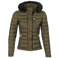 material Women Duffel coats Superdry FUJI SLIM DOUBLE ZIPHOOD Olive