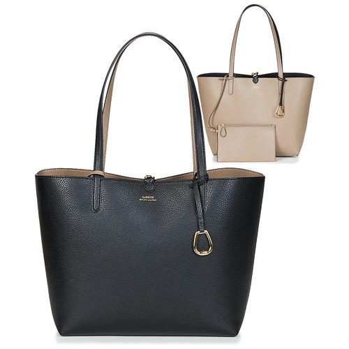 Bags Women Shopper bags Lauren Ralph Lauren MERRIMACK REVERSIBLE TOTE MEDIUM Black / Taupe