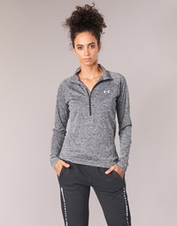 material Women Long sleeved shirts Under Armour TECH 1/2 ZIP TWIST Black