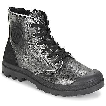 Shoes Women Mid boots Palladium PAMPA HI Black / Silver