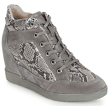 Shoes Women High top trainers Geox D CARUM Grey