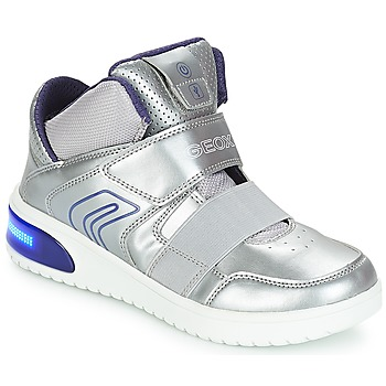 Shoes Girl High top trainers Geox J XLED GIRL Silver