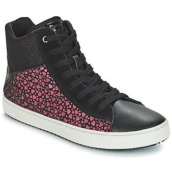 Shoes Girl High top trainers Geox J KALISPERA GIRL Black / Pink