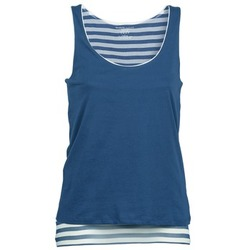 material Women Tops / Sleeveless T-shirts Majestic BLANDINE Marine / White