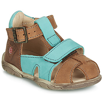 Shoes Boy Sandals GBB SEROLO Nub / Fauve-turquoise / Dpf / Filou