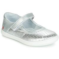 Shoes Girl Ballerinas GBB PLACIDA Vte / Silver-perforated / Dpf / Cuba