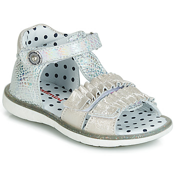Shoes Girl Sandals Catimini BIRA Silver / Beige