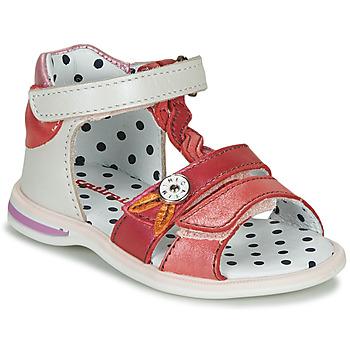 Shoes Girl Sandals Catimini GOROKA White / Pink