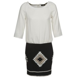 material Women Short Dresses One Step RAMBOUTAN White / Black