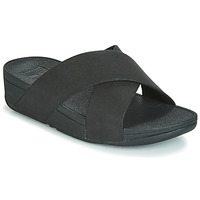 Shoes Women Mules FitFlop LULU SHIMMERLUX SLIDES Black
